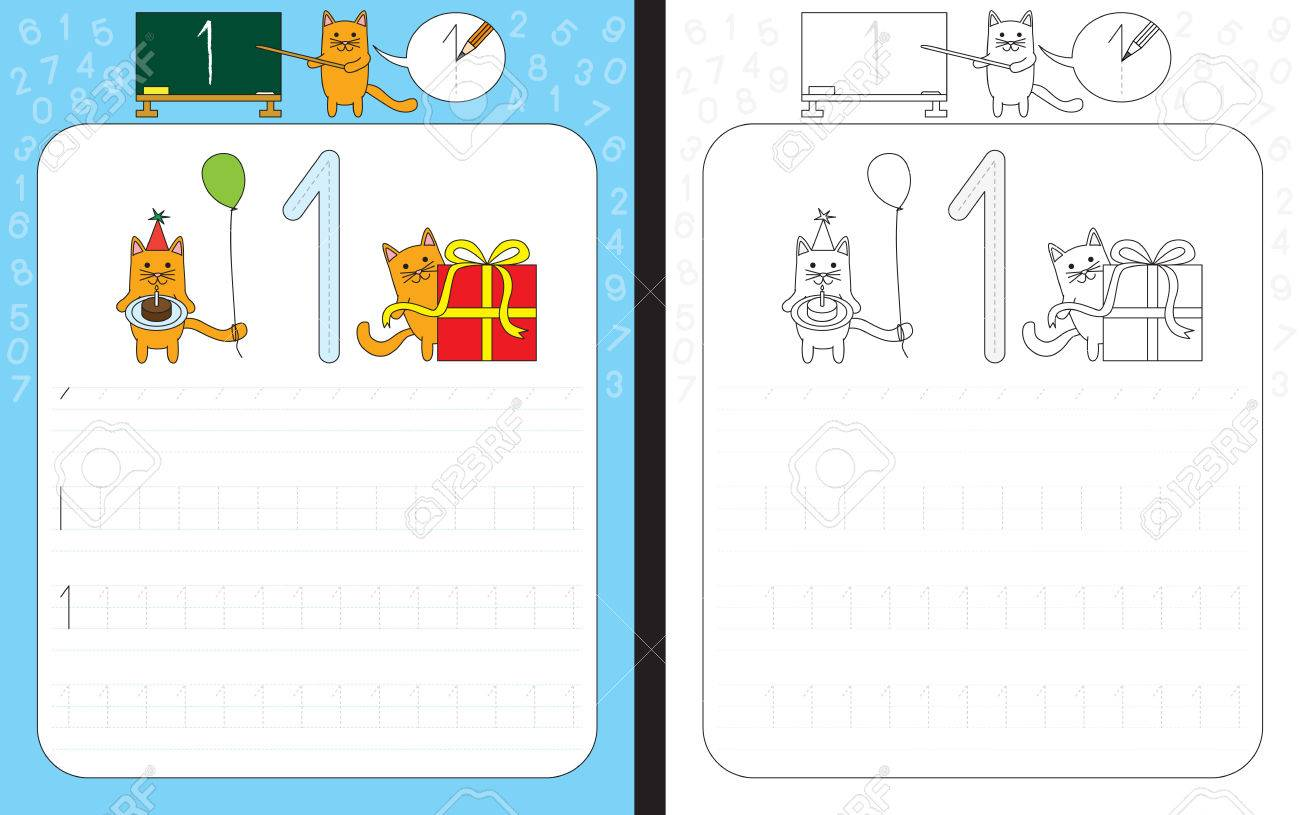 Worksheet For Practicing Number Writing - Tracing Number 1 Royalty ...
