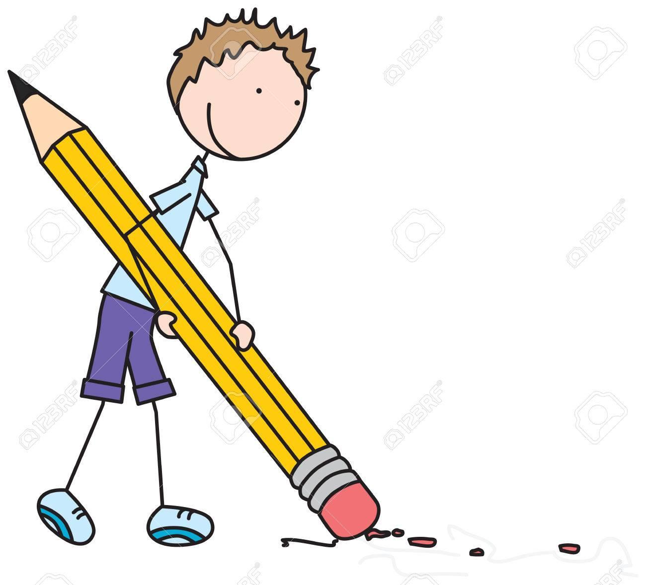 Karikaturillustration Eines Jungen, Der Großen Bleistift Hält Und ...
