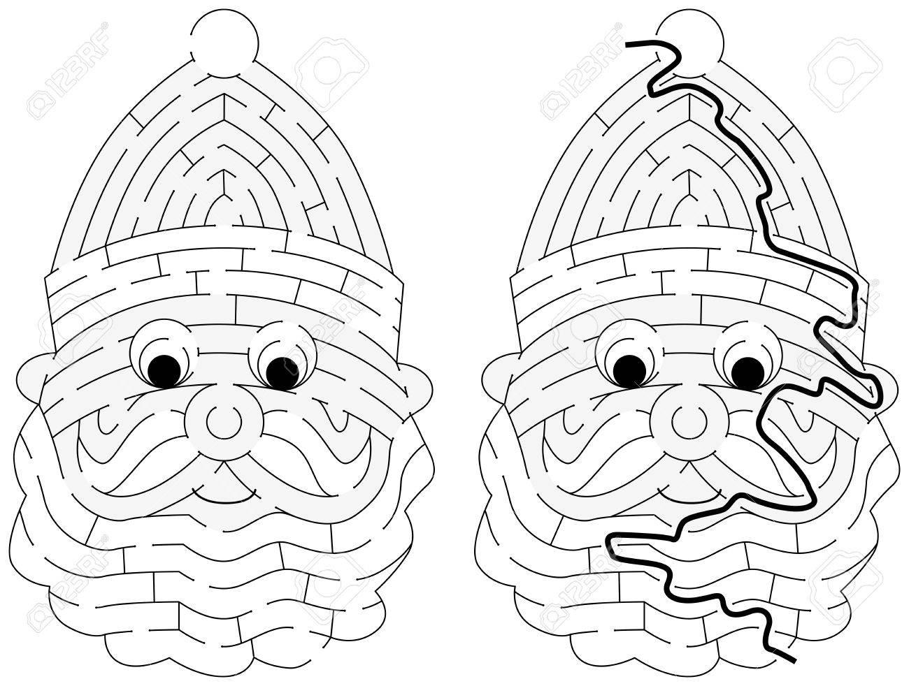 Immagini Di Babbo Natale In Bianco E Nero.Facile Labirinto Di Babbo Natale Per I Piu Piccoli Con Una Soluzione In Bianco E Nero