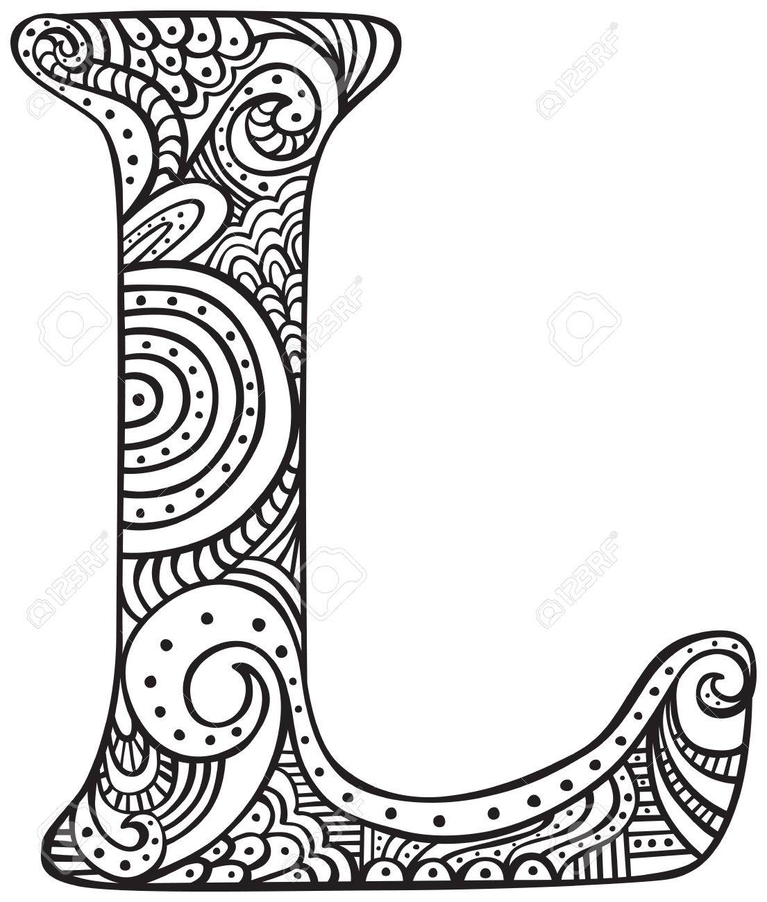 Hand Drawn Capital Letter L In Black Coloring Sheet For Adults
