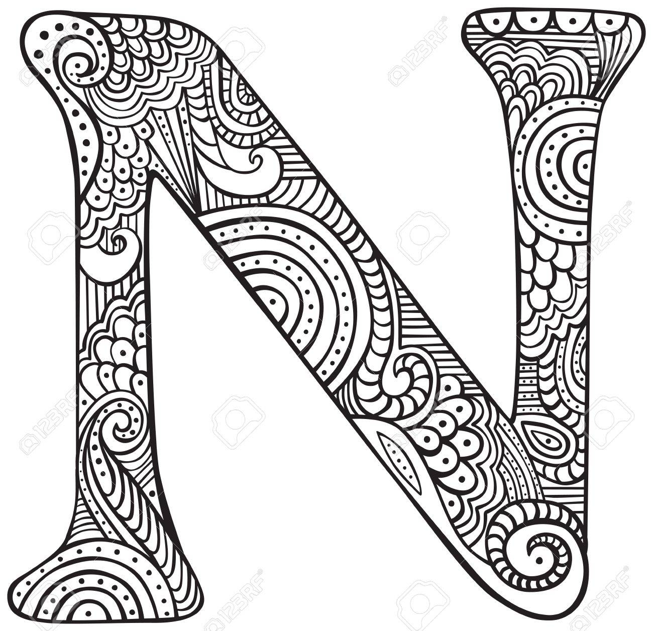 Hand Drawn Capital Letter N In Black Coloring Sheet For Adults