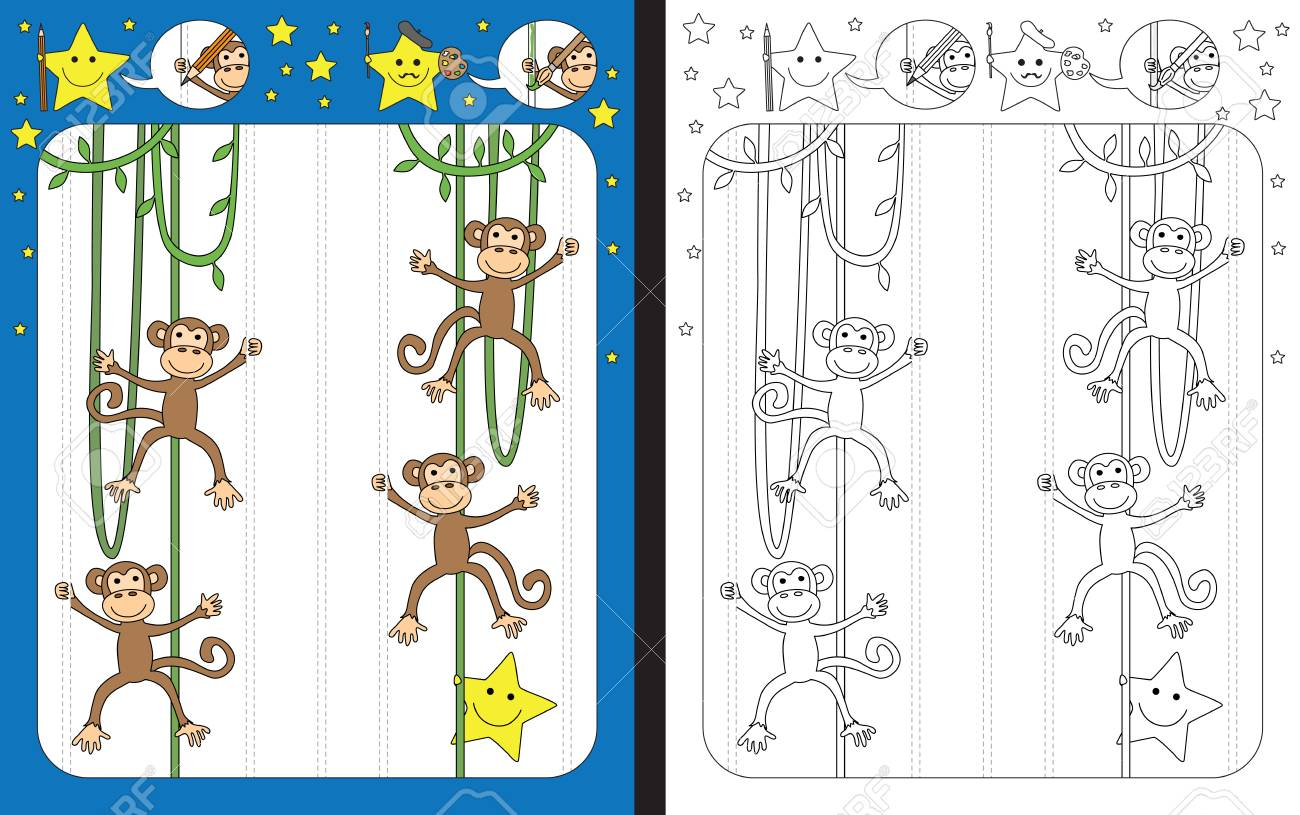 Preschool worksheet for practicing fine motor skills - tracing dashed lines - finish the illustration of vines with monkeys - 84438999