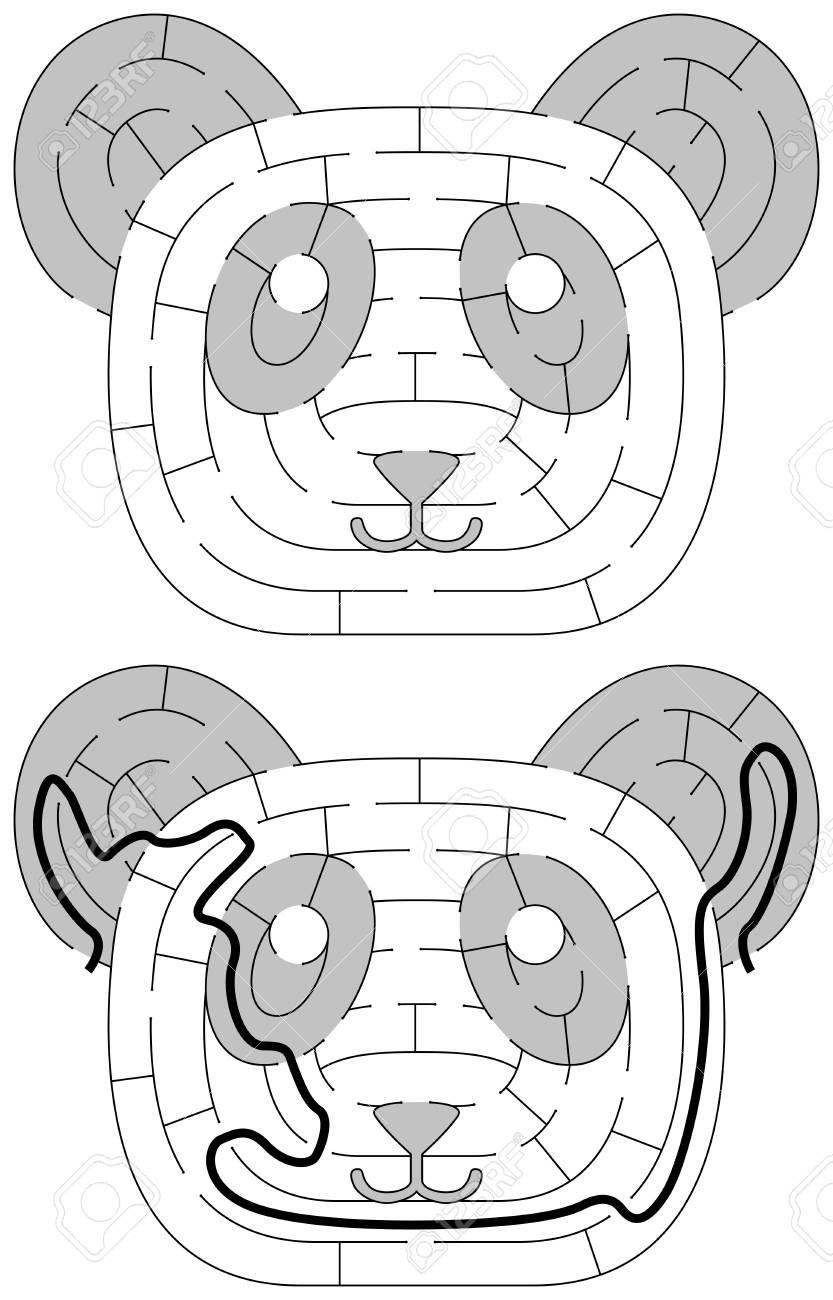 Einfaches Panda-Labyrinth Für Jüngere Kinder Mit Einer Lösung ...