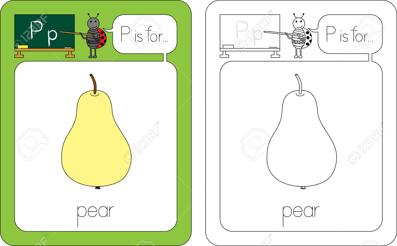 flashcard for english language letter p is for pear royalty free