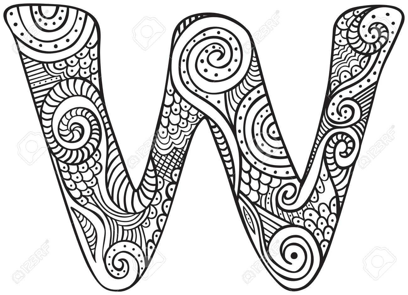 Hand drawn capital letter w in black coloring sheet for adults stock vector 90585632