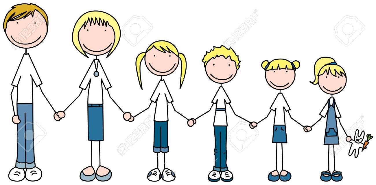 Cartoon illustration of family of six - 124139177