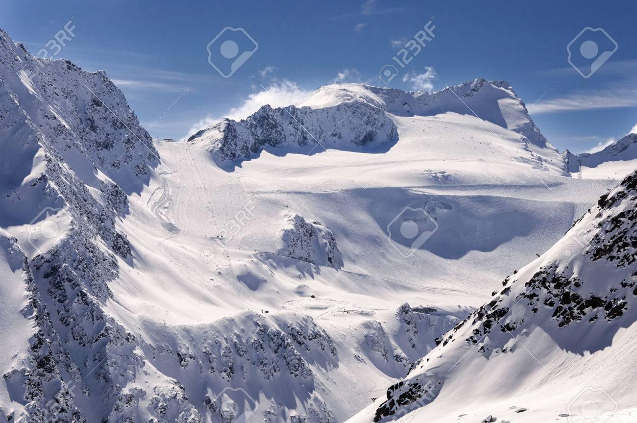 ski pistes and lifts on glacier in solden ski resort in otztal