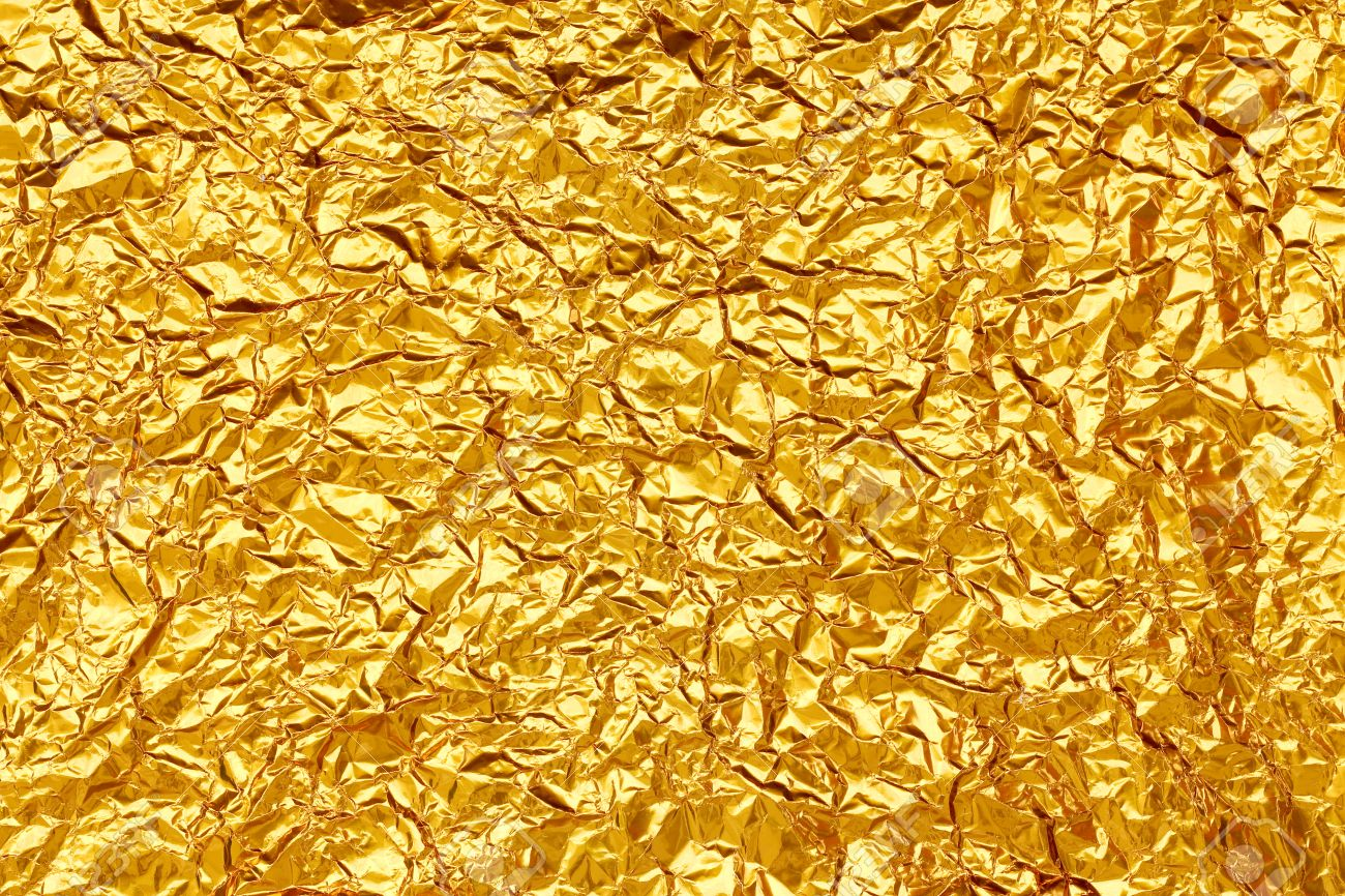 Shiny yellow leaf gold foil texture background - 33235769