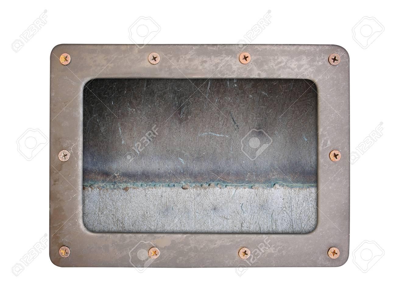 Placa de fondo de texturas de óxido de acero con marco y tornillos