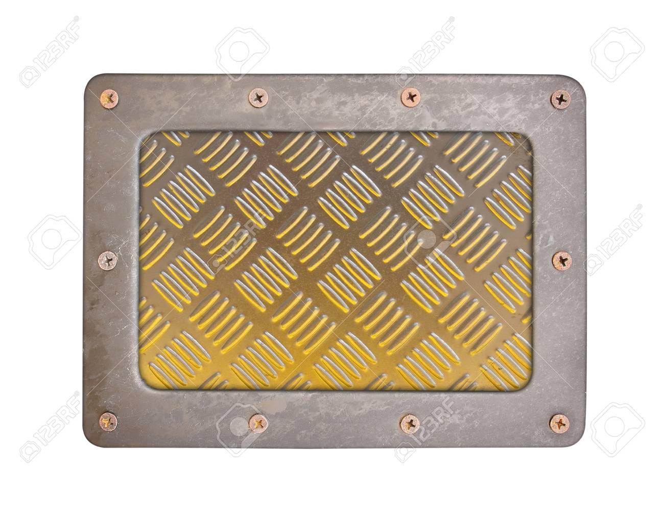 Estilo de patrón de textura de metal de placa de fondo de acero con marco y tornillos