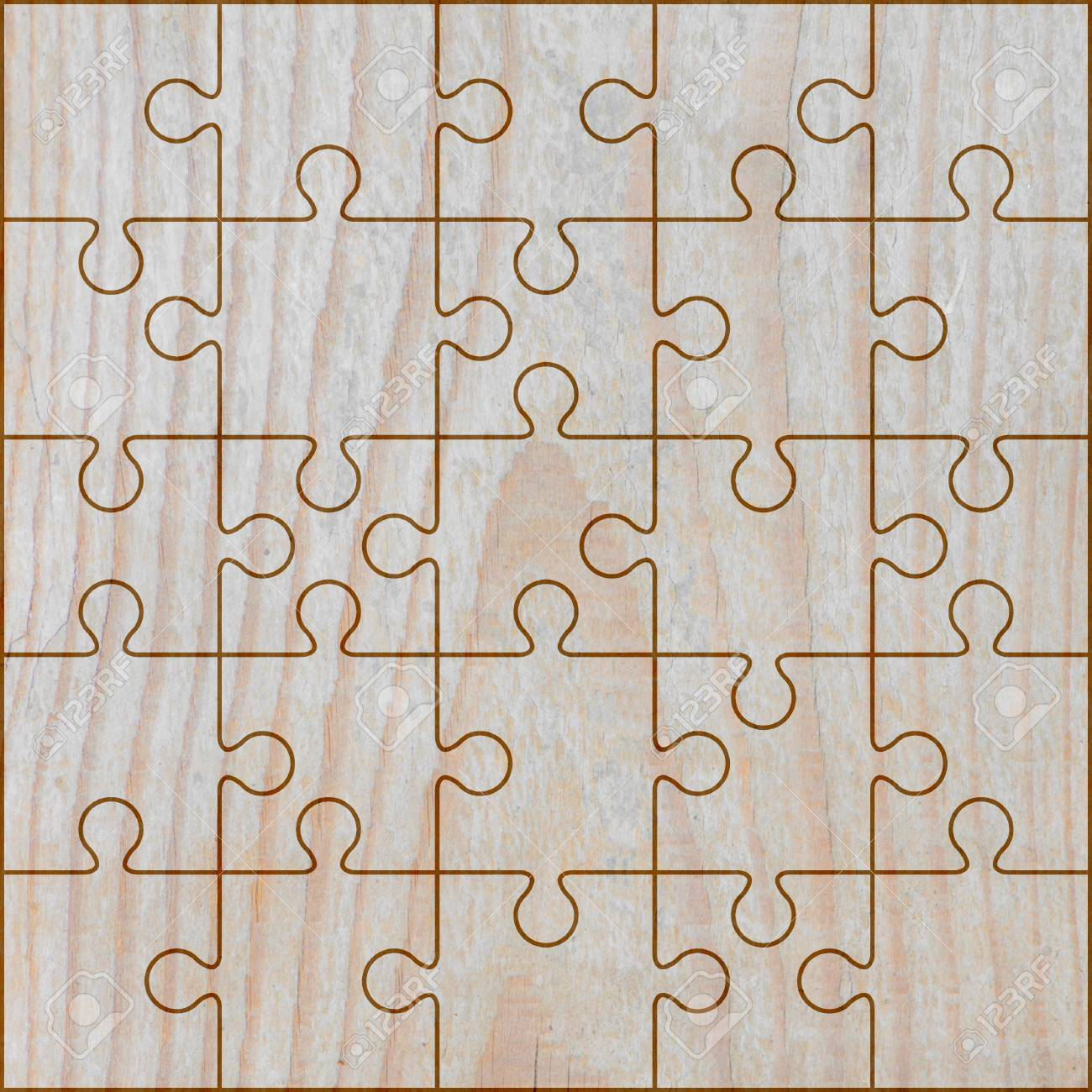 Jigsaw Puzzle Frame On Light Brown Wood Background. Stock Photo ...