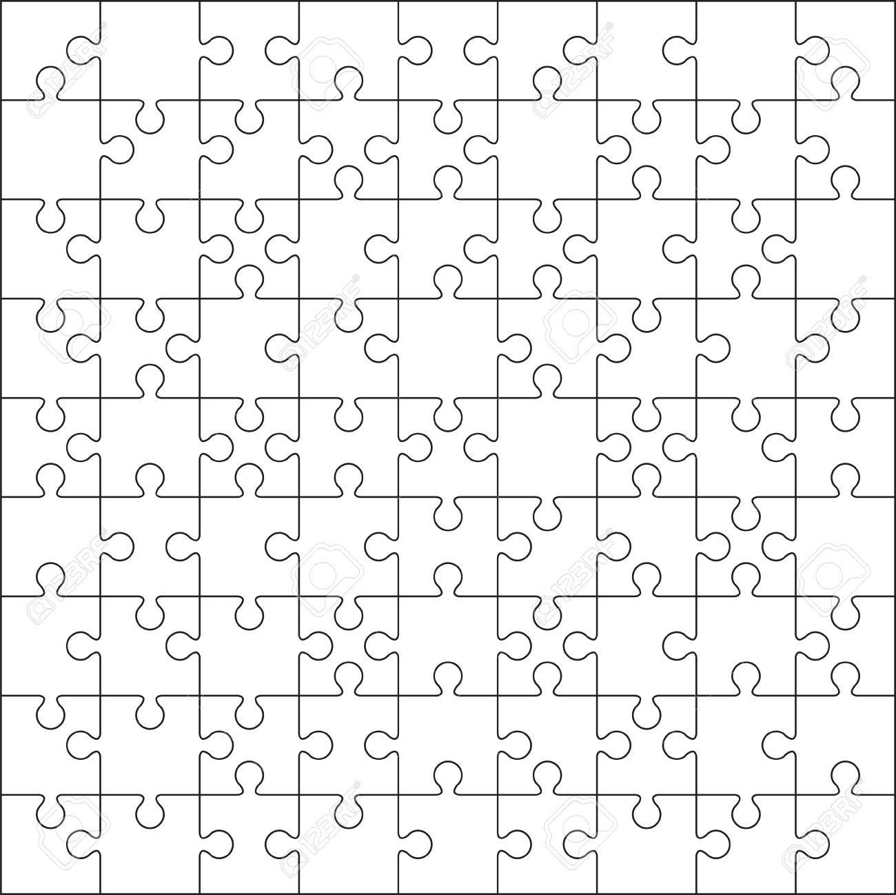 100 Jigsaw Puzzle Blank Template Or Cutting Guidelines Stock Vector