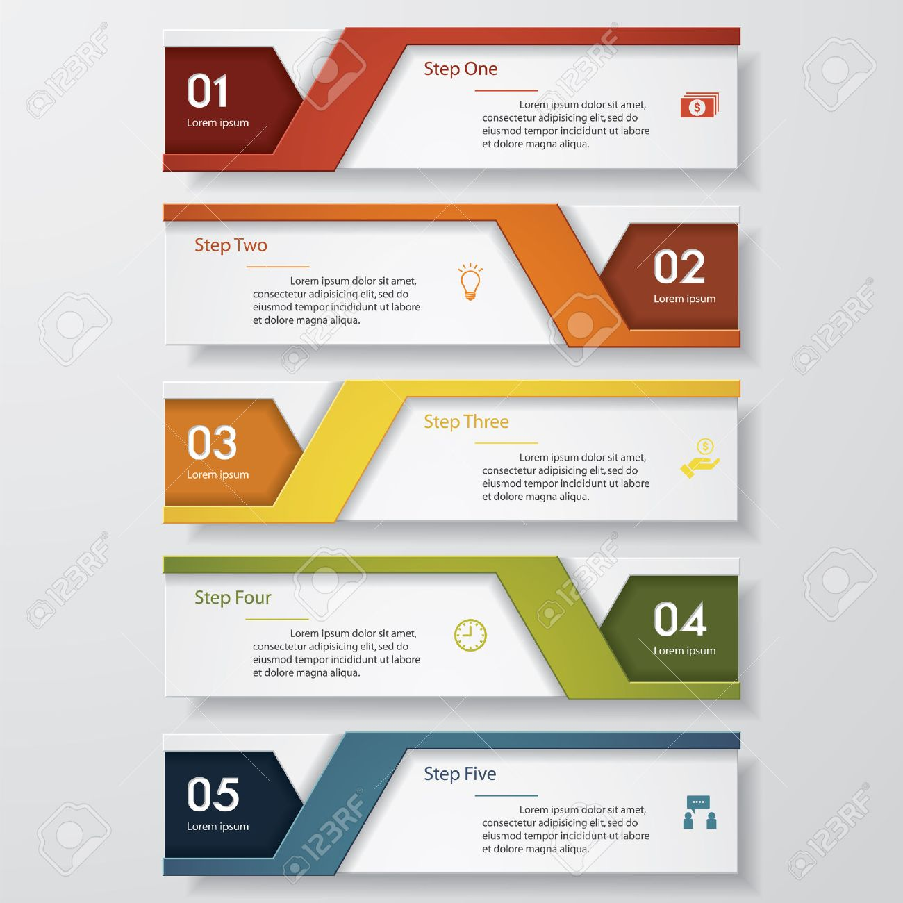 design clean number banners template graphic or website layout