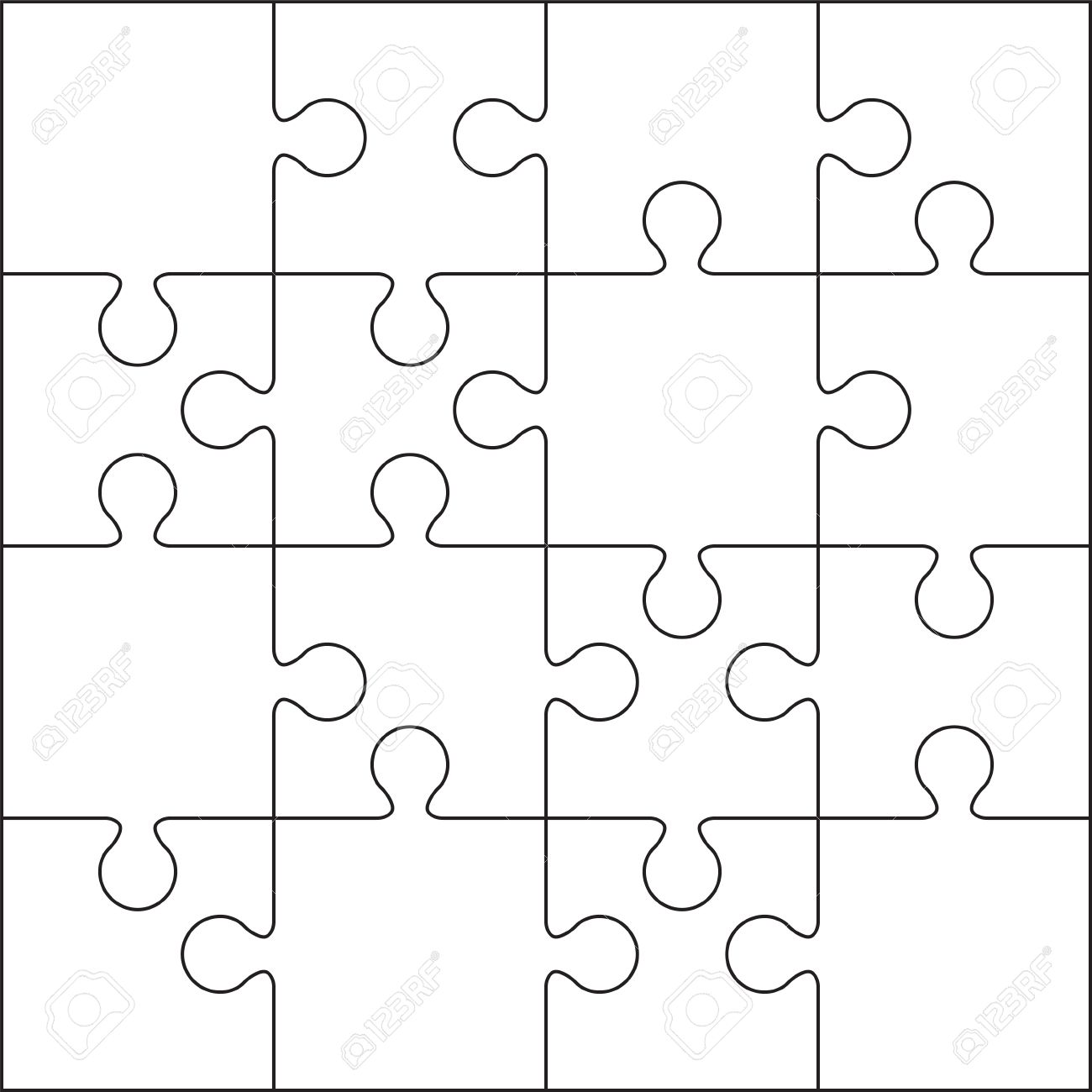 16 Jigsaw Puzzle Blank Template Or Cutting Guidelines Stock Vector
