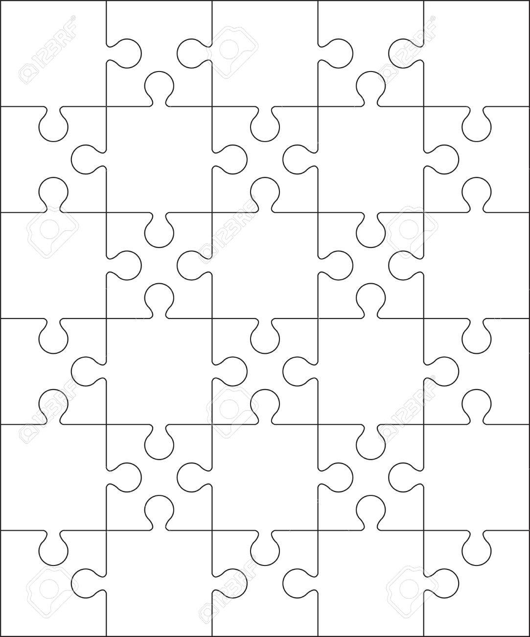30 Jigsaw Puzzle Blank Template Or Cutting Guidelines 56 Ratio Stock Vector