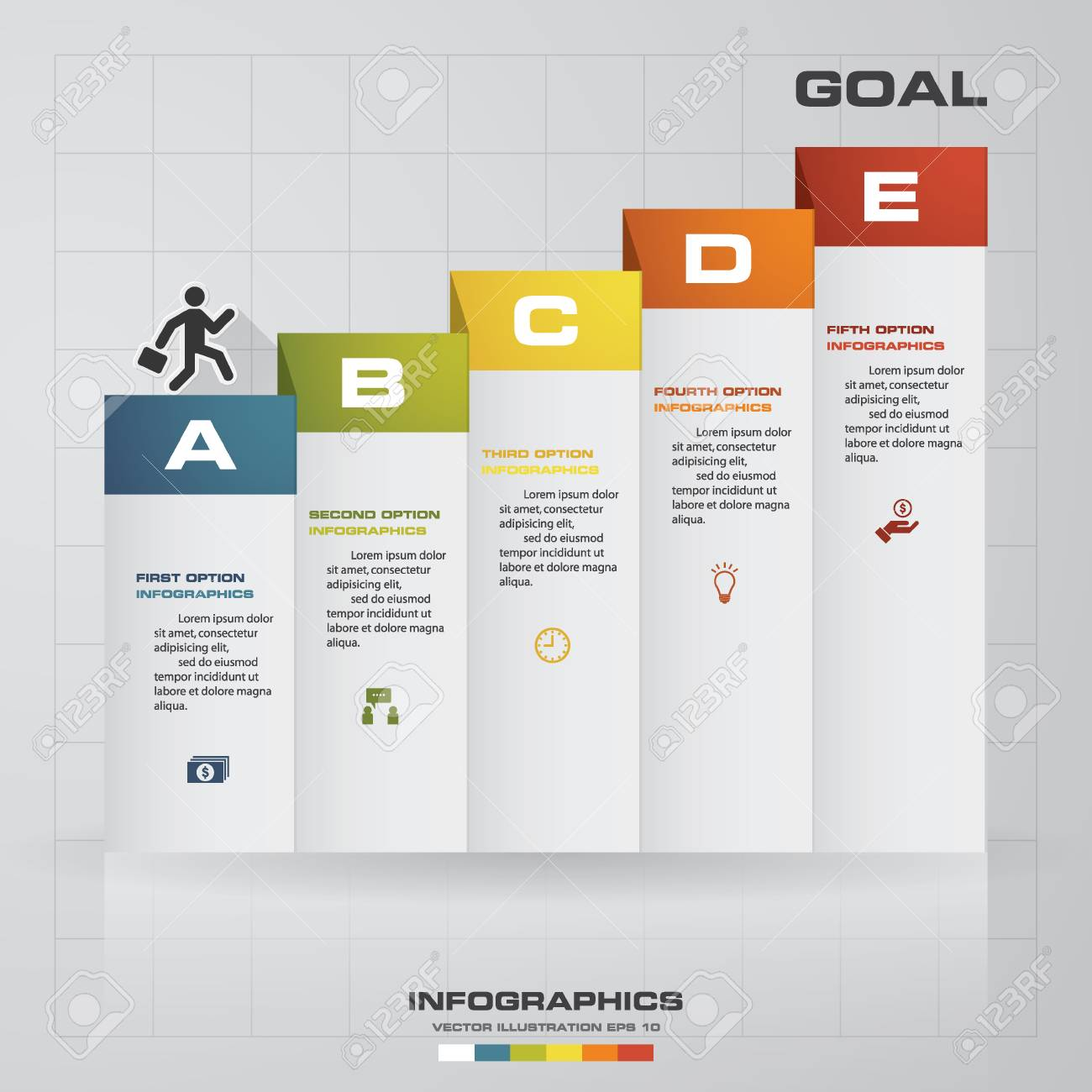 Abstract business chart 5 steps diagram templategraphic or abstract business chart 5 steps diagram templategraphic or website layout vector ccuart Choice Image
