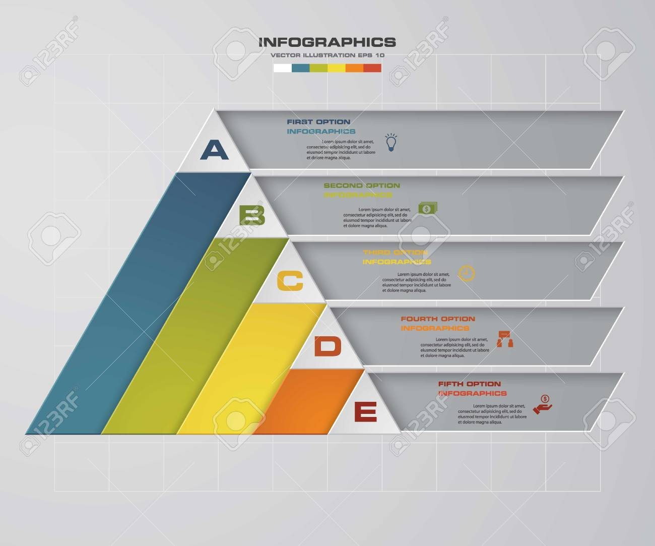Abstract Pyramid Shape Layout With 5 Steps Clean Number Banners ...