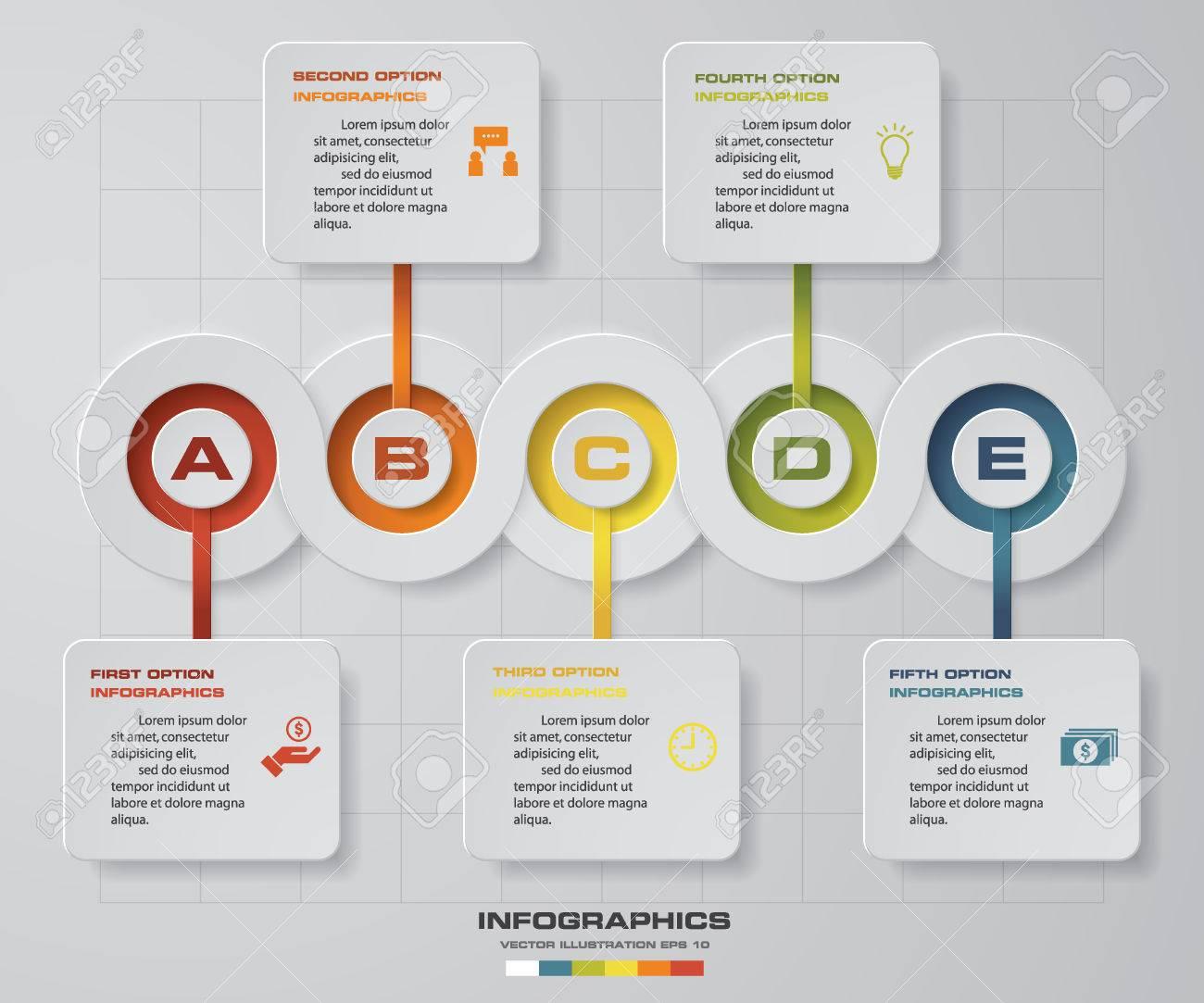 タイムライン インフォ グラフィック 5 手順ベクター デザイン