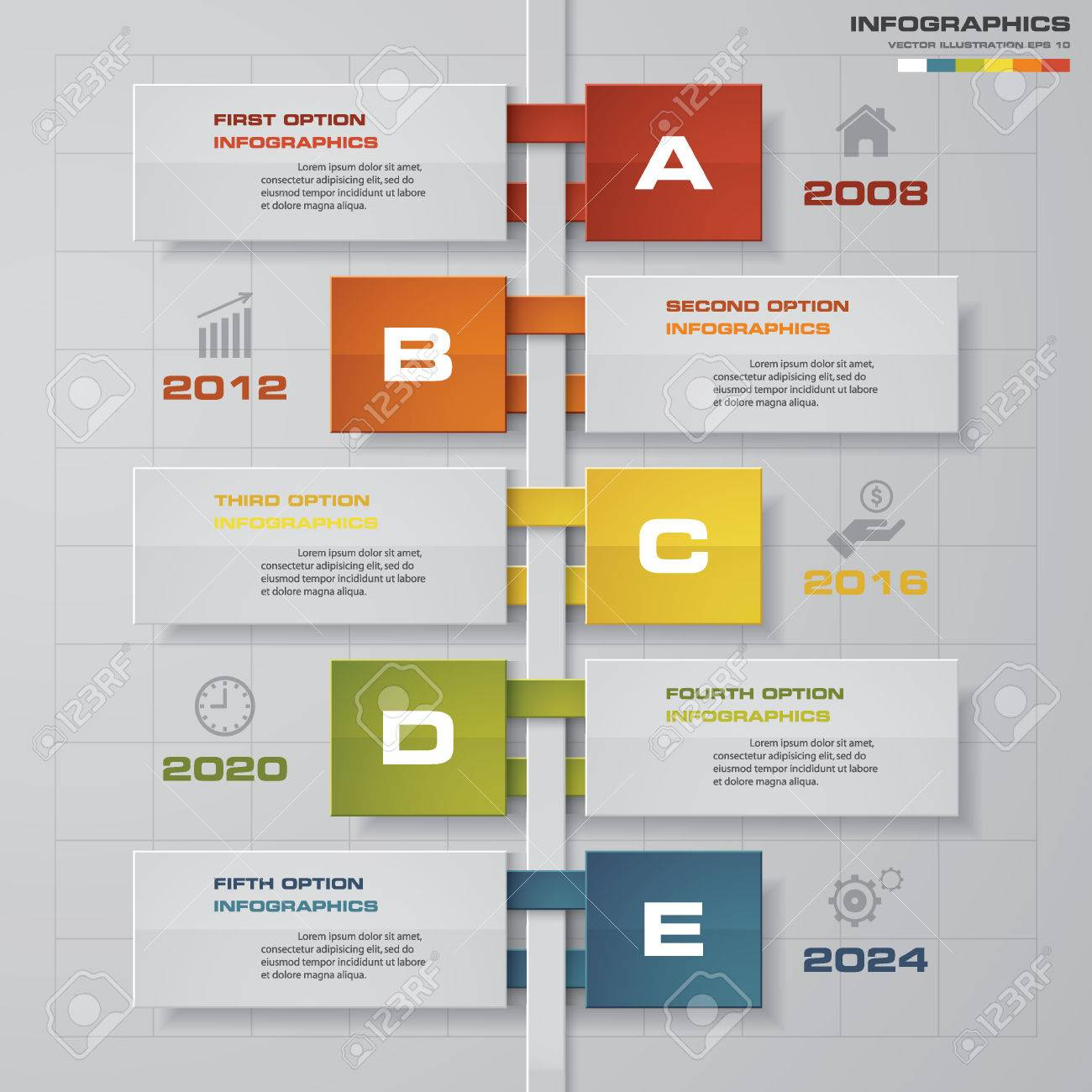Timeline Infographic 5 Steps Design Template. Can Be Used For ...