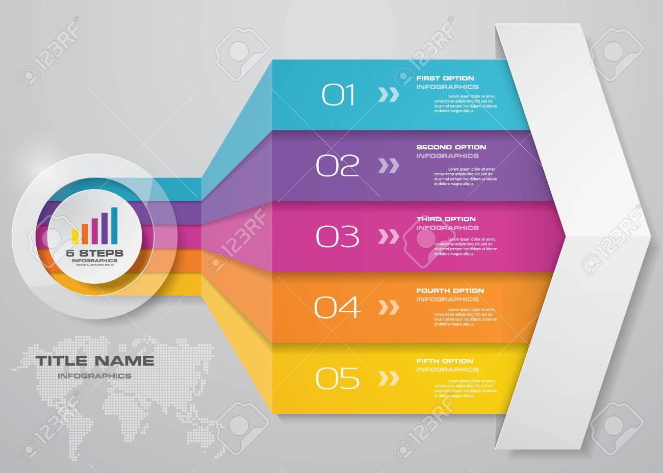 5 steps of arrow infografics template. for your presentation. - 133617962