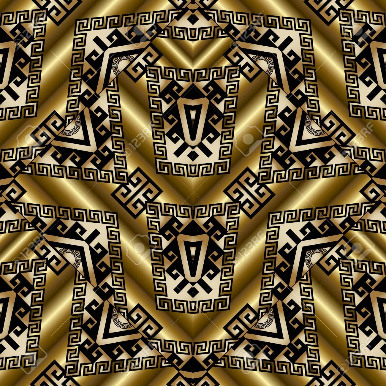 Tribal Gold Seamless Patterns Vector 3d Golden Background Wallpaper