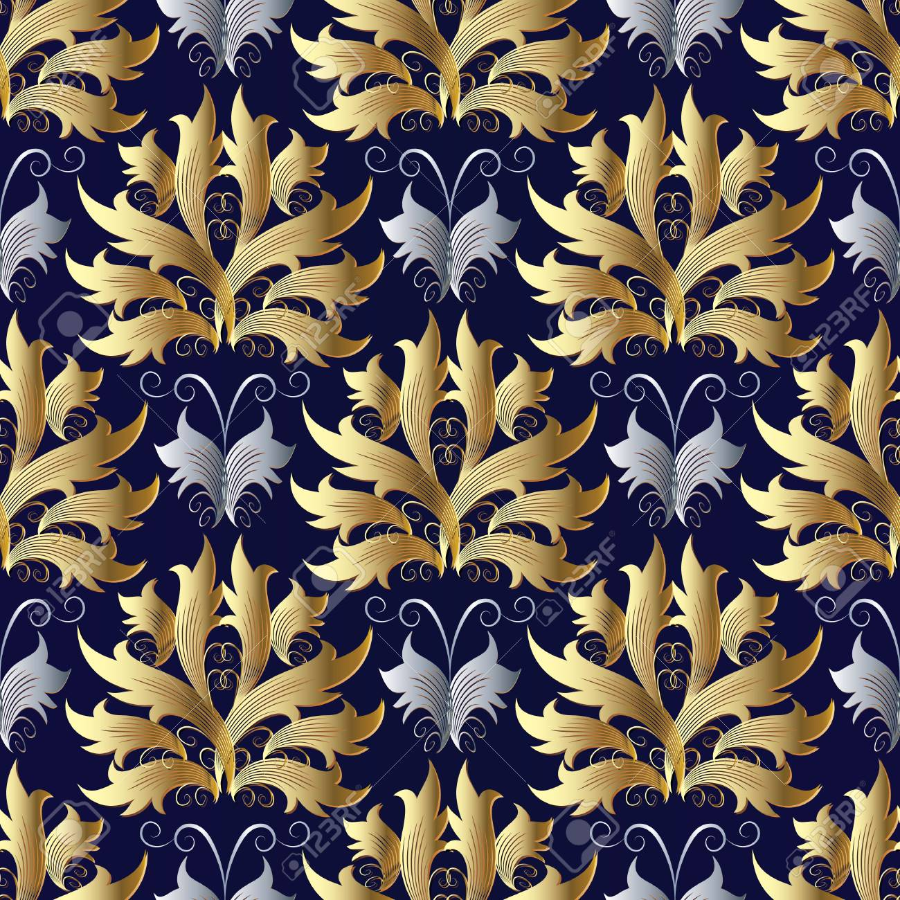 Gold Silver Baroque Vector Seamless Pattern Damask Blue
