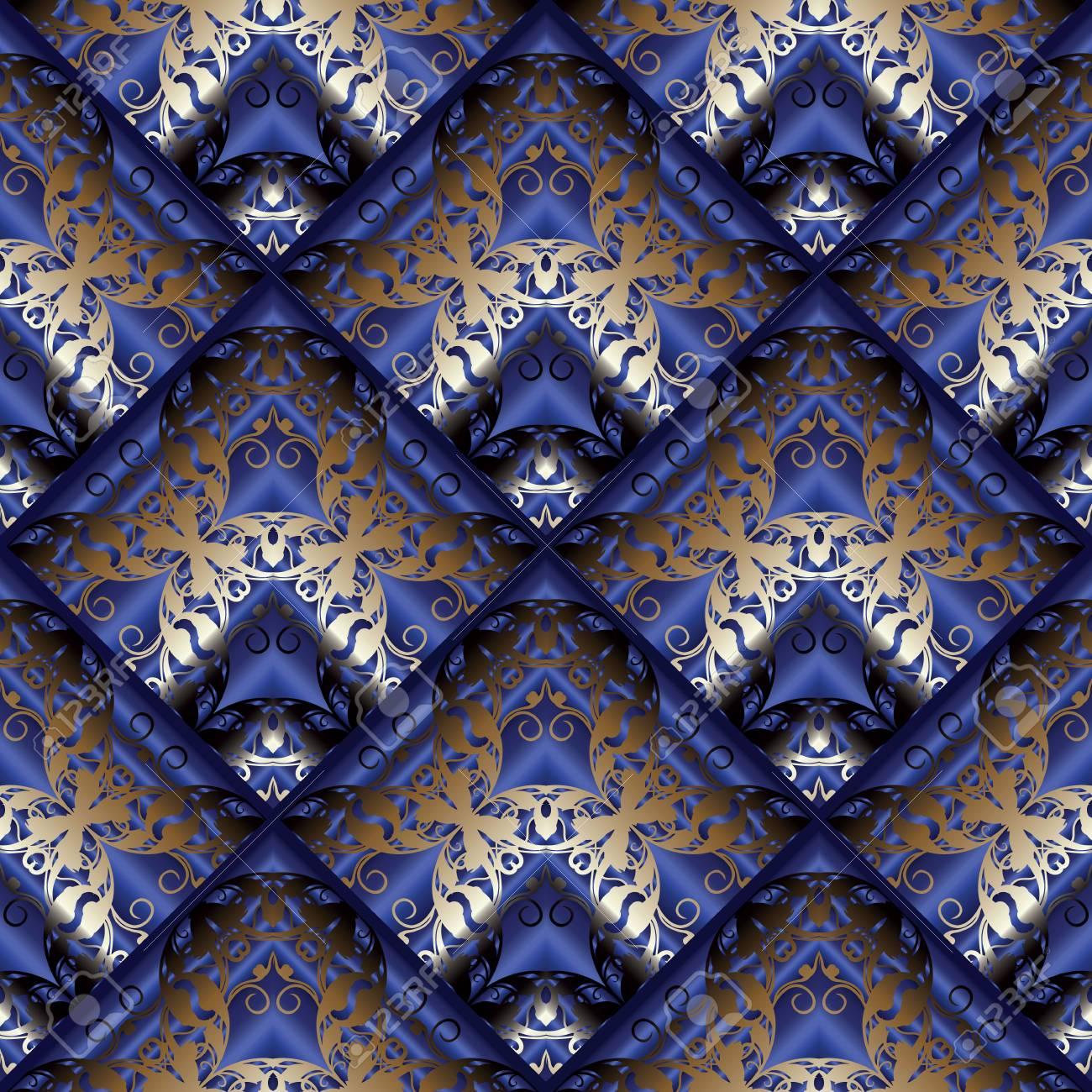 Floral Vector Dark Blue 3d Background Vintage Wallpaper Damask Gold