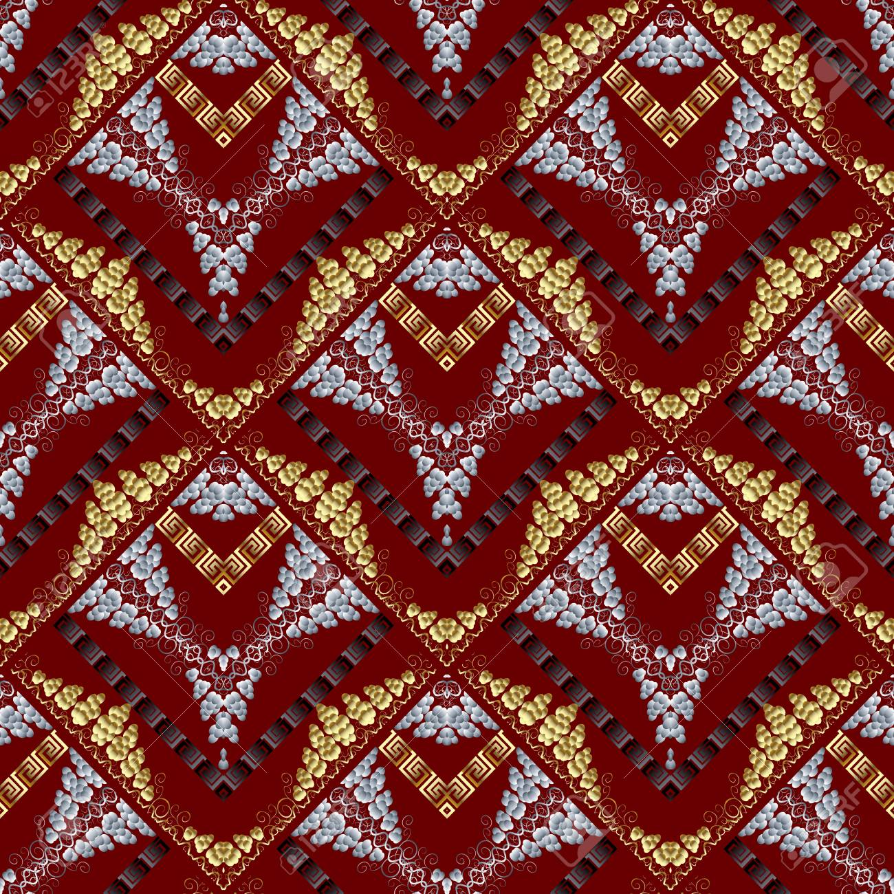 Modern Abstract Meanders Seamless Pattern Red Vector Background