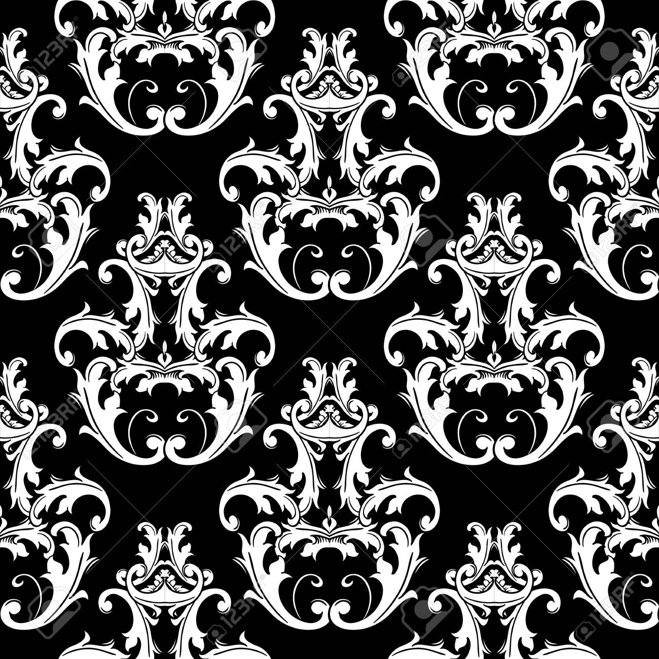 Damask black white seamless pattern floral background wallpaper illustration with vintage antique flowers scroll
