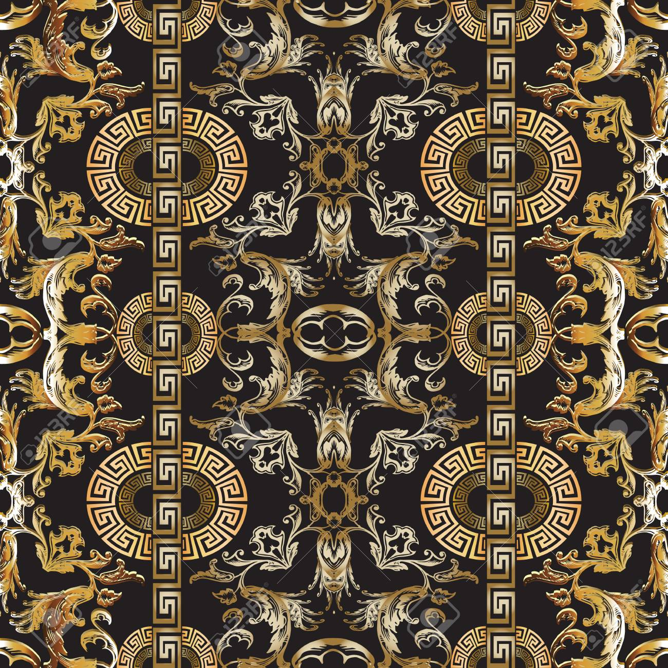 Baroque Seamless Pattern Vector Damask Background Baroque