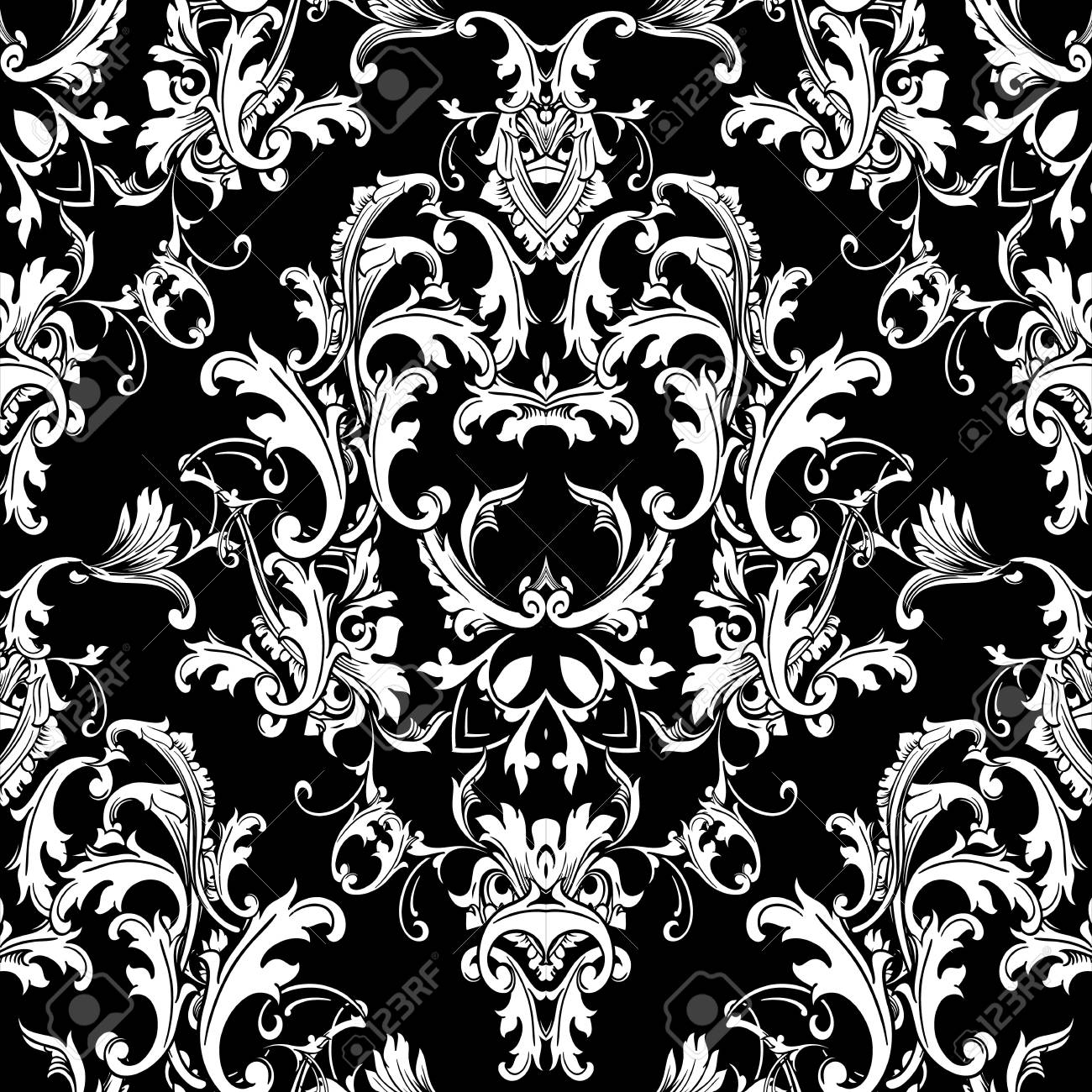 Baroque Black White Seamless Pattern Luxury Floral Background