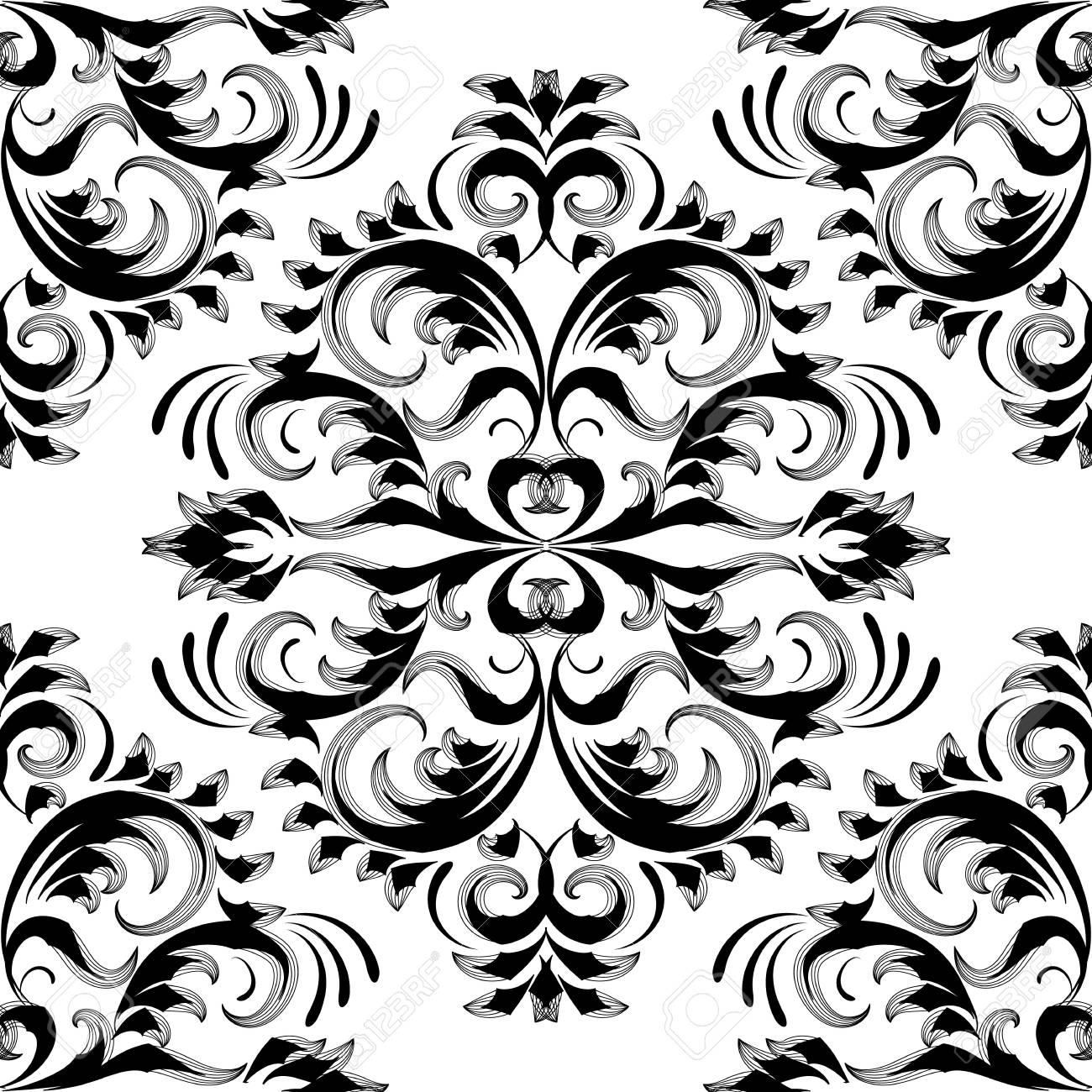 Black white vector background wallpaper with hand drawn line art tracery flowers, leaves, baroque ornaments in renaissance victorian style.