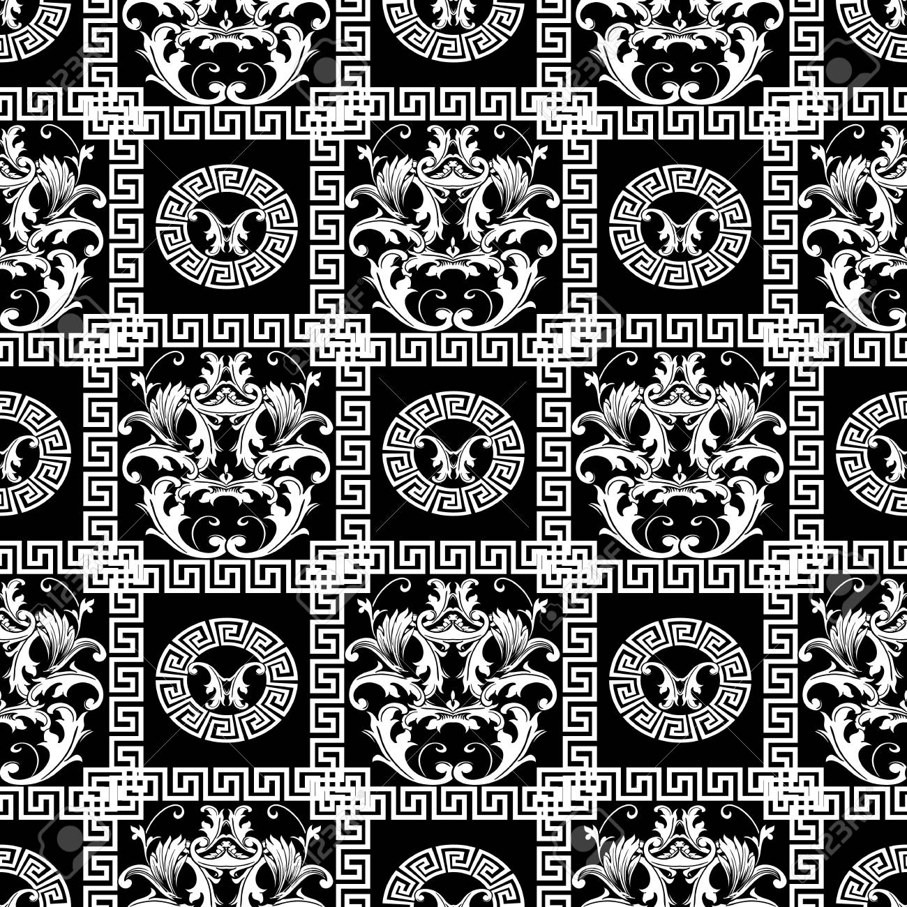Baroque seamless pattern floral black background wallpaper with floral black background wallpaper with white damask flowers scroll leaves jeuxipadfo Gallery