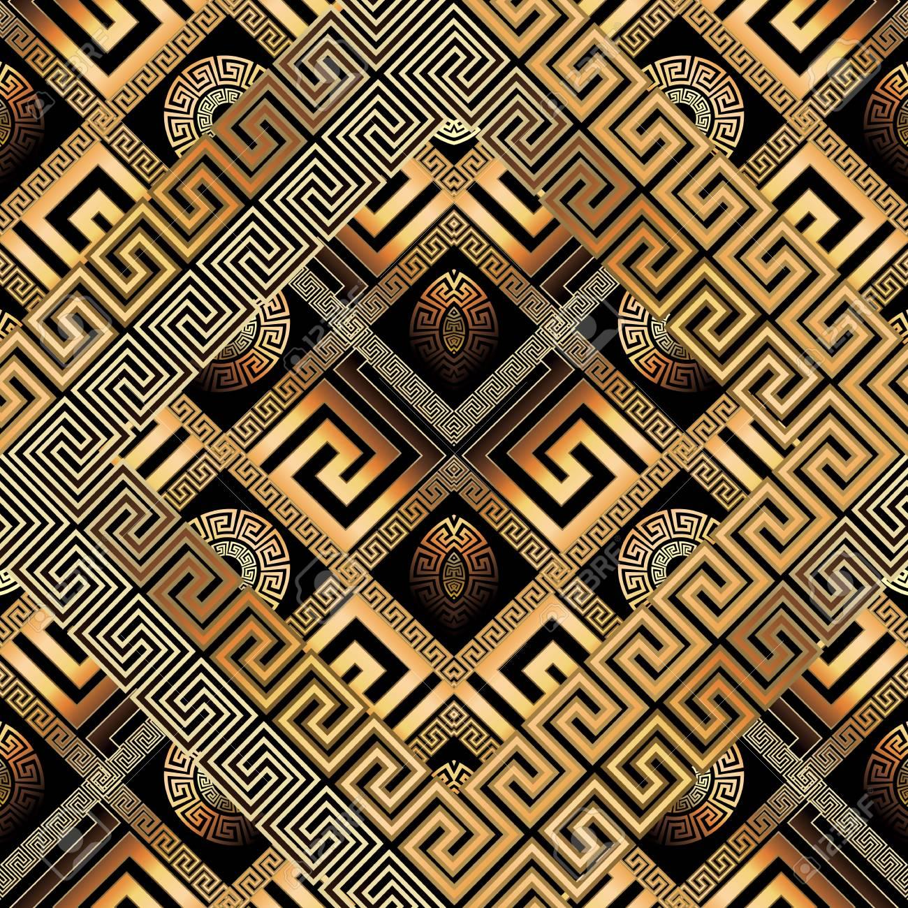 Modern Meander Seamless Pattern Abstract Black Gold Greek Key Background 3d Wallpaper Geometric