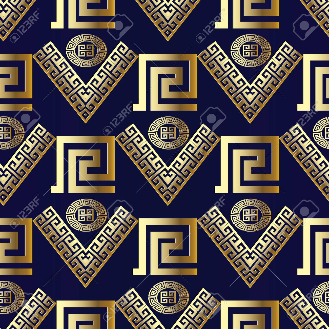Geometric Modern Vector Seamless Pattern Blue Background Wallpaper With Gold Ornamental Abstract Shapes