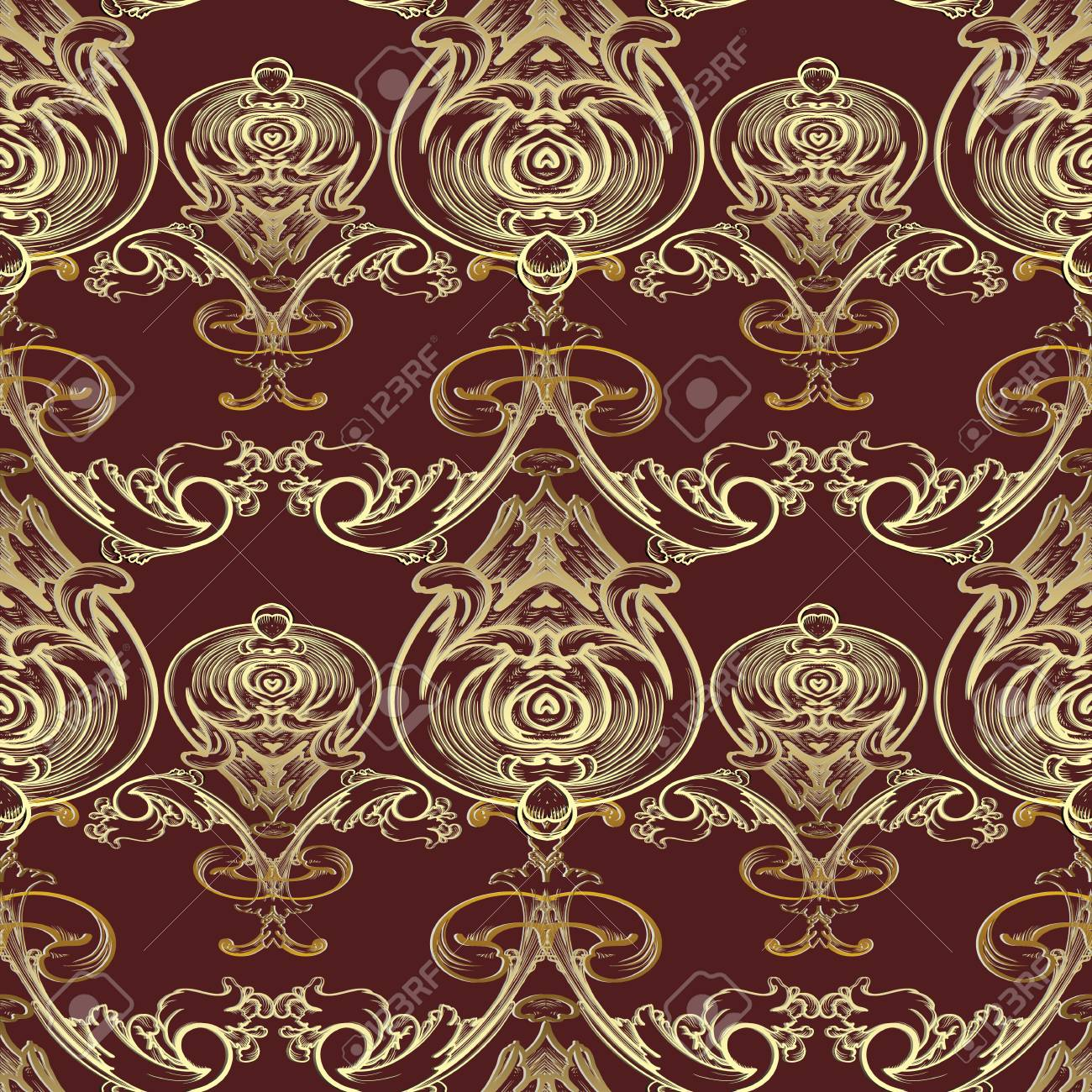 Baroque Vector Seamless Pattern Damask Dark Red Floral Background