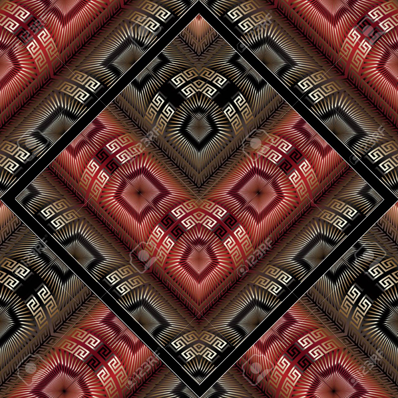 Abstract Meander Vector Seamless Pattern Modern Black Red Gold Greek Key Background 3d Wallpaper