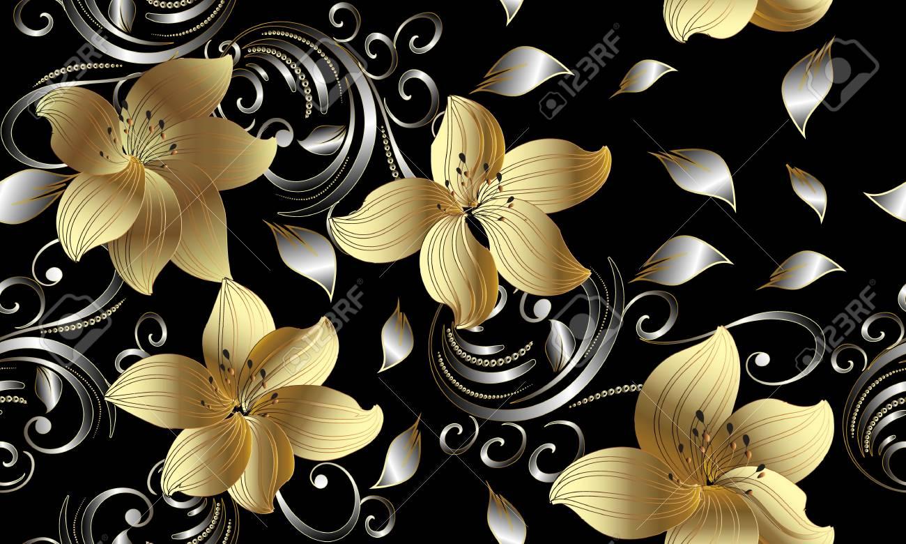 3d golden flowers seamless pattern floral background vintage 3d golden flowers seamless pattern floral background vintage 3d wallpaper swirl line art mightylinksfo