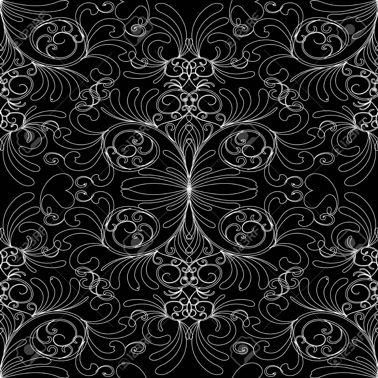Damask Vintage Black White Background Ornate Wallpaper Decorative Hand Drawn