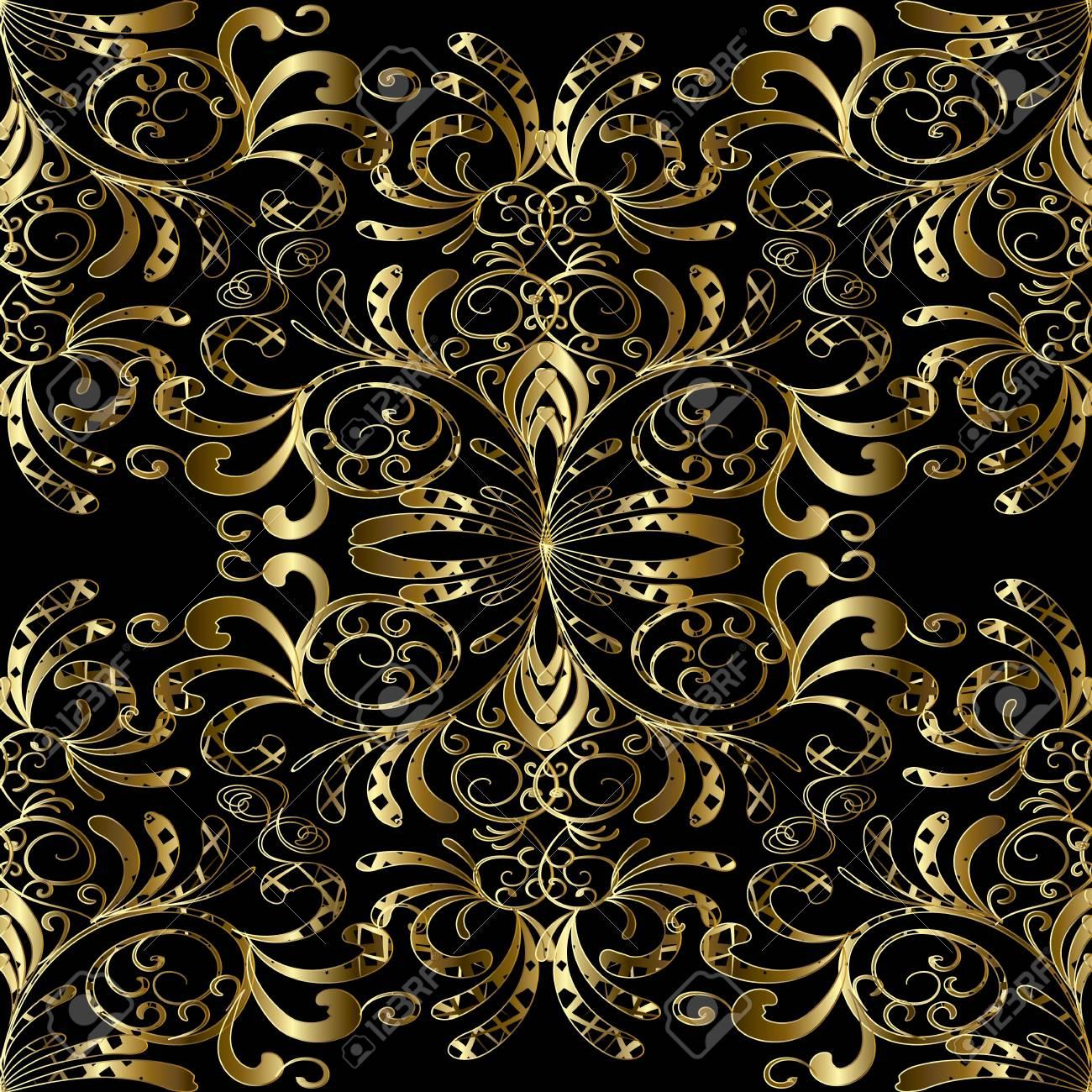 Gold Floral Paisleys Seamless Pattern Damask Vintage Gold Black