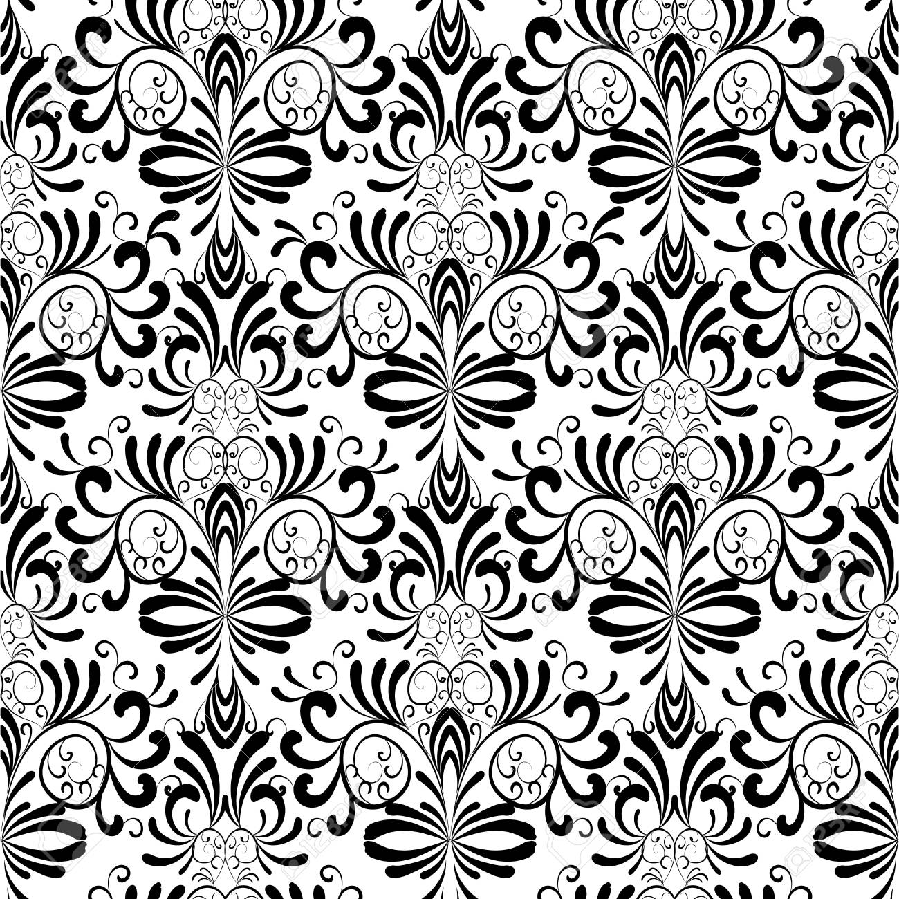 Damask Seamless Pattern Floral Vintage Black White Background
