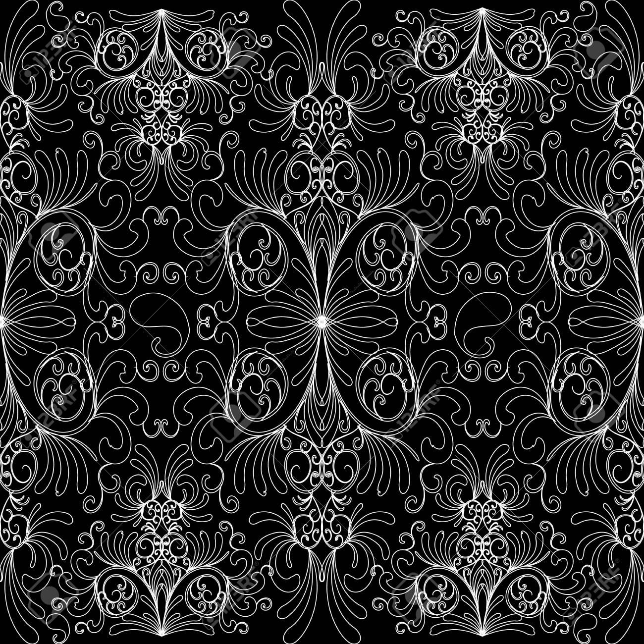 Floral Vintage Black White Background Ornate Wallpaper Decorative Hand