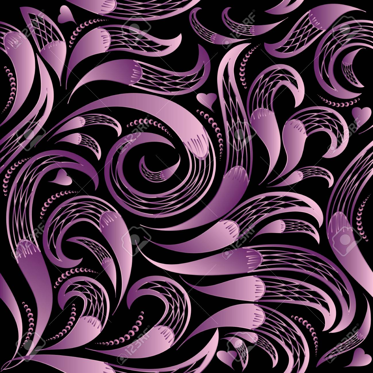Floral Black Background Wallpaper Vintage Hand Drawn Violet 3d Paisley