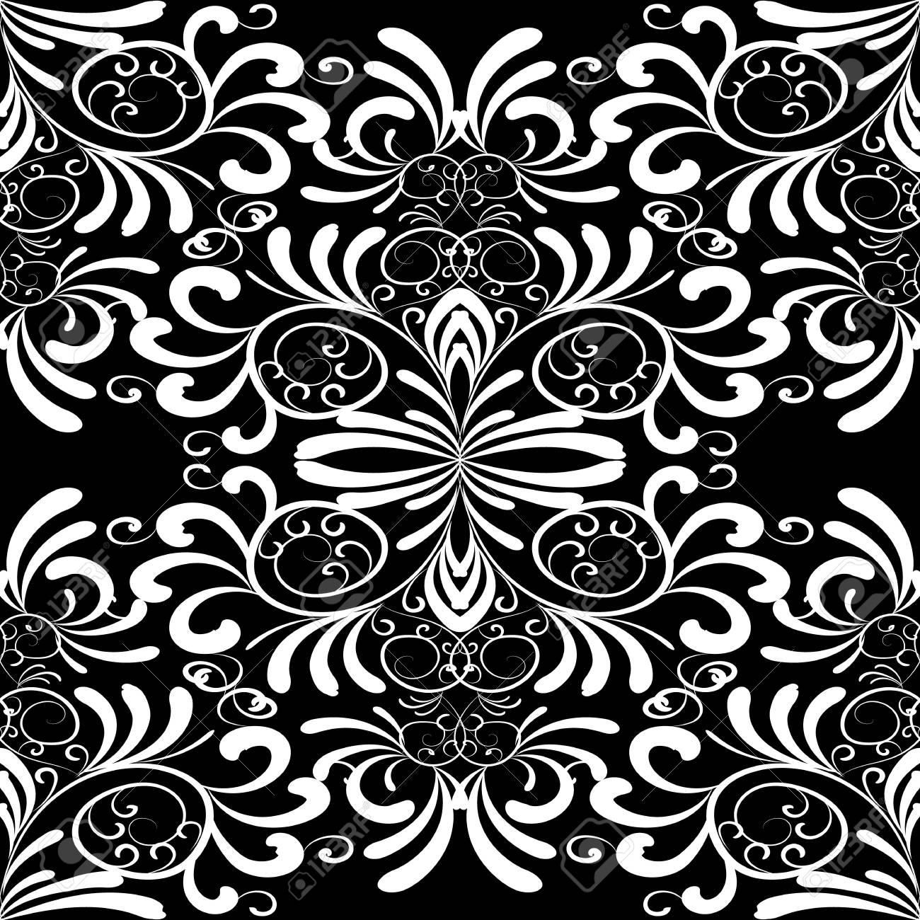 Modele Sans Couture Floral Vintage Damasse Fond Blanc Noir Papier