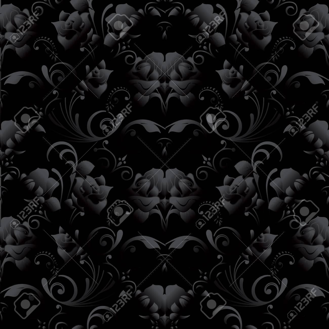 Black Roses Seamless Pattern Vector Dark Black Floral Background