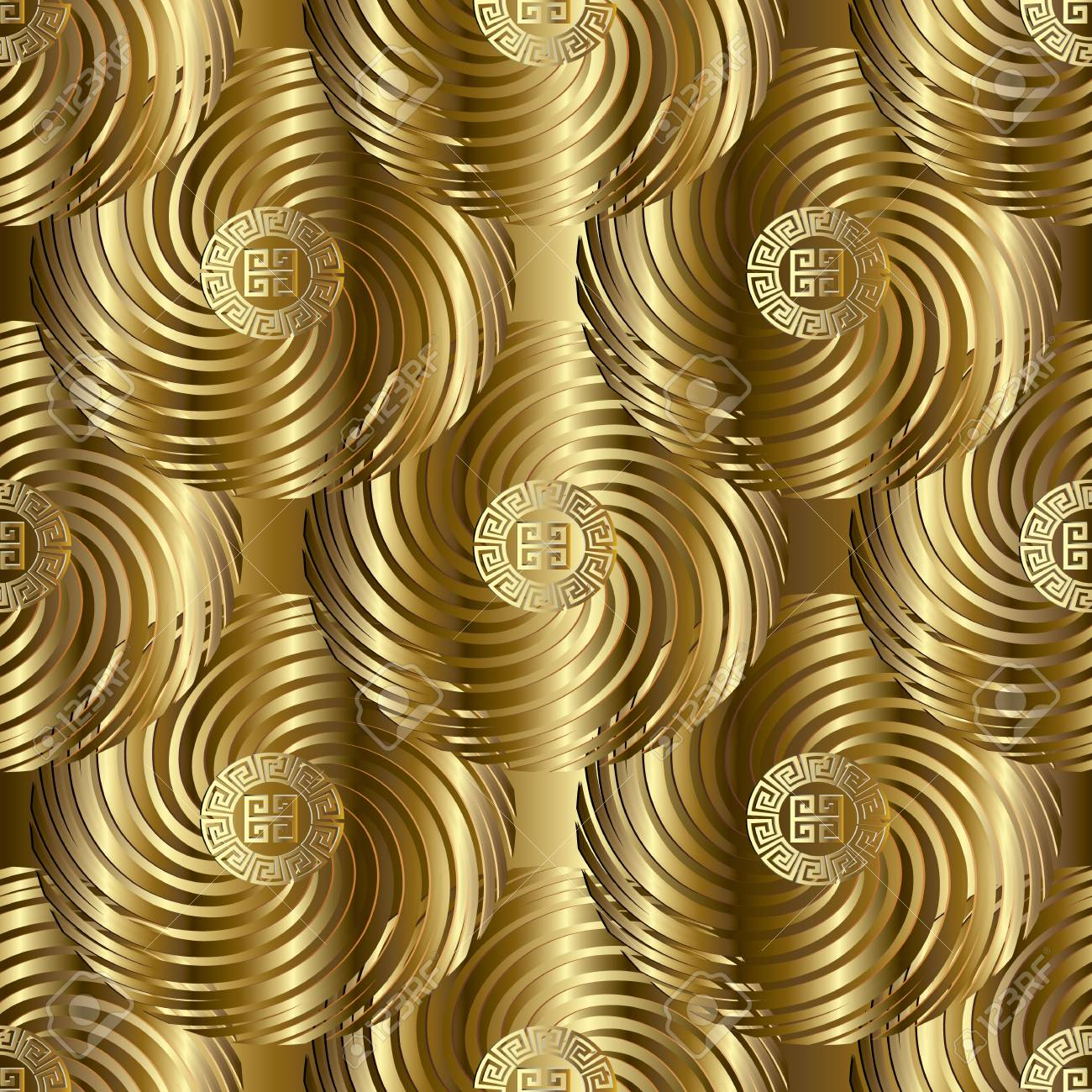 Ornate Surface Vintage 3d Texture Gold Modern Vector Meander Seamless Pattern Geometric Golden Background Wallpaper With Ornamental Abstract Shapes