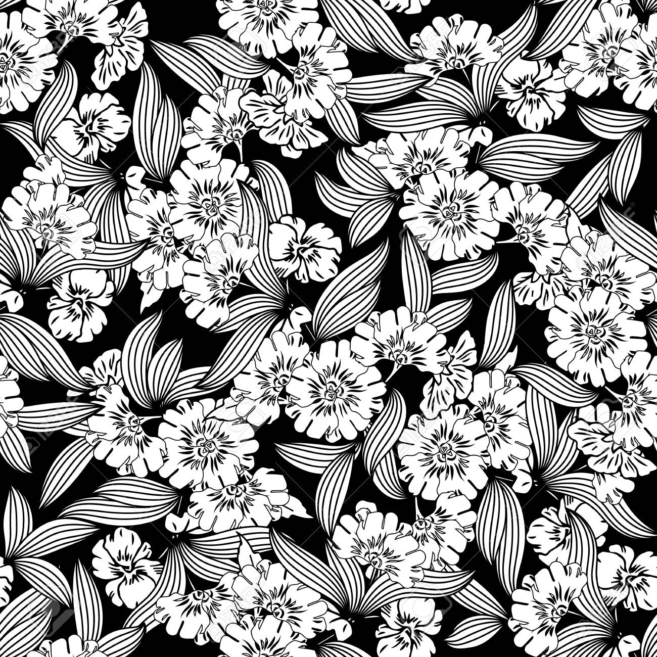 Floral Seamless Pattern Vector Black Background Wallpaper With