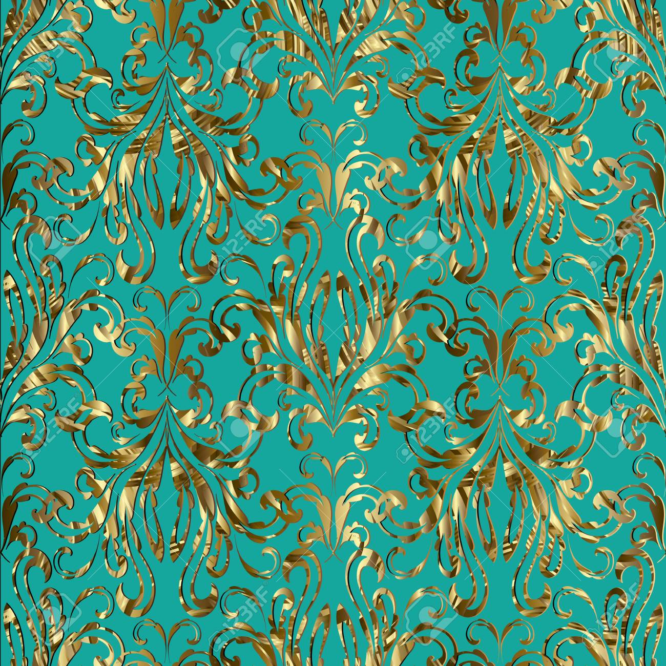 Damask Baroque Gold Seamless Pattern Vector Floral Turquoise