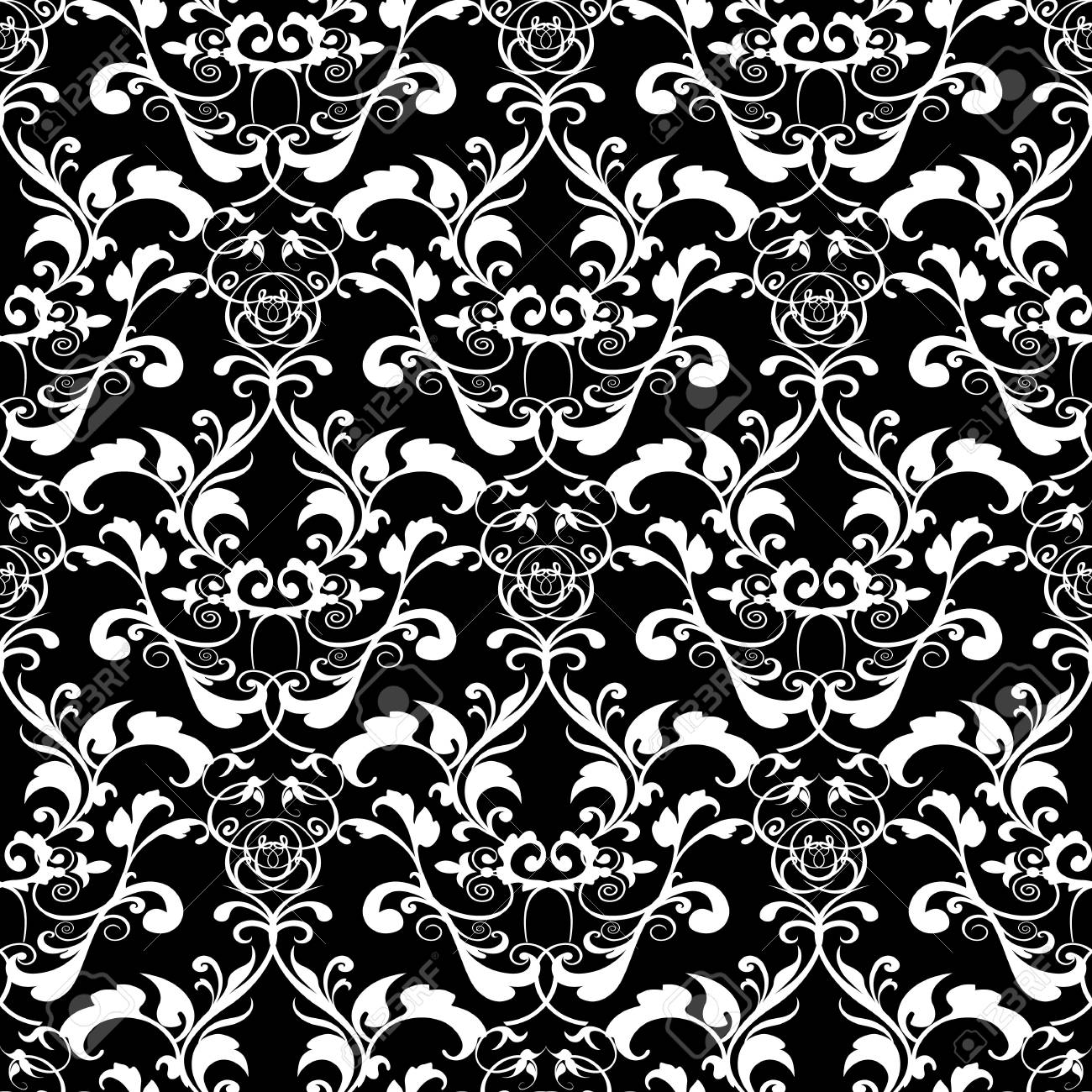 Baroque Black And White Vector Seamless Pattern Isolated Texture Vintage Floral Background Wallpaper With