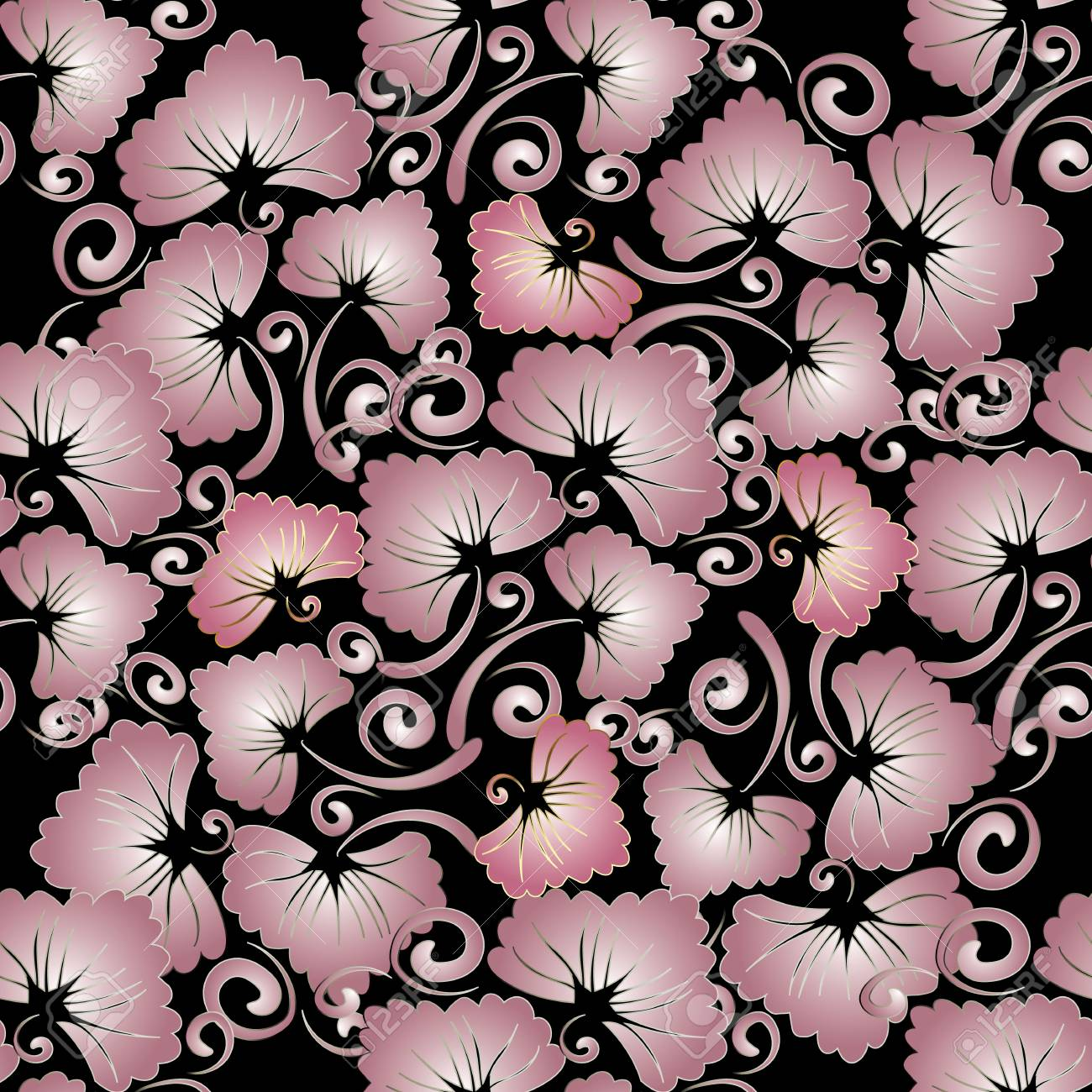Floral Vintage Seamless Pattern Abstract Vector Black Background With Pink Leaves Flowers Swirl